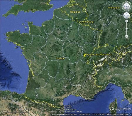 Localisation de Baume-les-Messieurs et de ses stromatolithes sur une carte de France