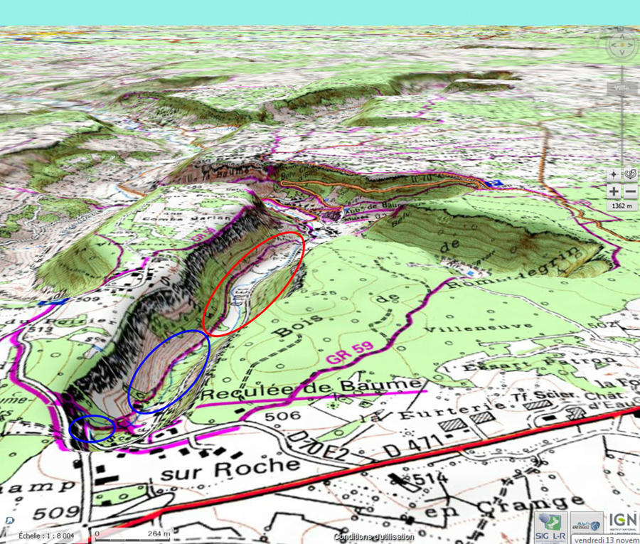 Localisation des secteurs du cours du Dard où ont été prises certaines images (ellipses bleues)