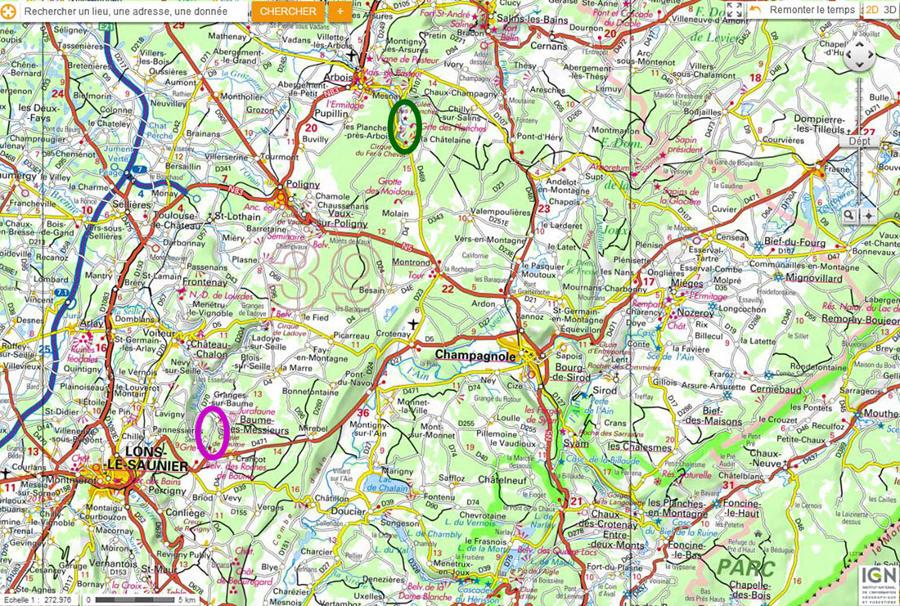 Localisation des reculées des Planches (ellipse verte) et de Baume-les-Messieurs (ellipse violette) près de Lons-le Saunier (Jura)