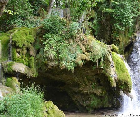Détail de la gauche de la cascade où le débit de l'eau est faible