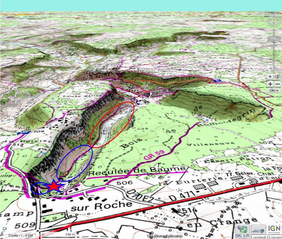 Localisation de la cascade (étoile rouge) au fond de la reculée de Baume-les-Messieurs (Jura)