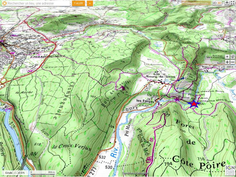 Localisation de l'ancienne cascade des tufs (étoile rouge) dans la gorge dite de la Perte de l'Ain (Jura)