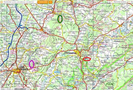 Localisation de la reculée de Baume-les-Messieurs (ellipse violette), de la reculée des Planches (ellipse verte) et de la perte de l'Ain (ellipse rouge) dans la région de Lons le Saunier (Jura)