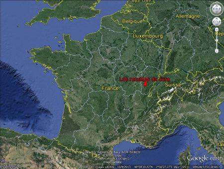 Localisation du secteur des reculées du Jura, près de Lons le Saunier
