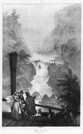 Les pertes du Rhône près de Bellegarde sur Valserine (Ain) vues d'une passerelle, remplacée depuis par le pont de Lucey, pont maintenant détruit