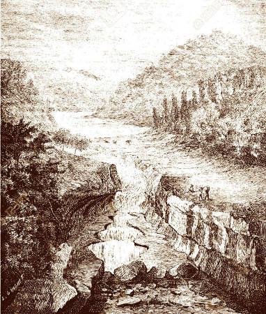 Vieille gravure des pertes du Rhône (début du XIXème siècle)