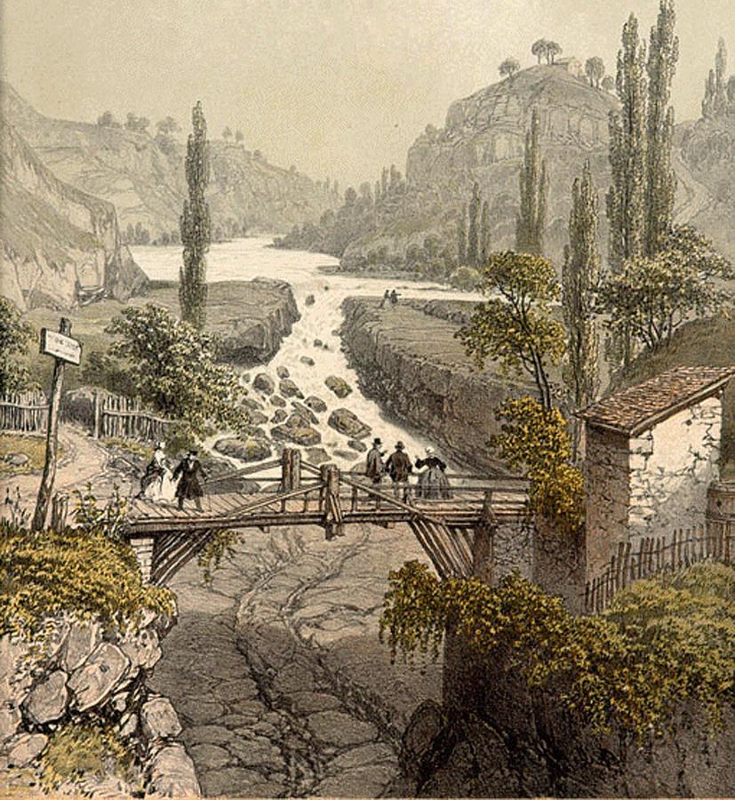 Image en couleur de la première moitié du XIXème siècle montrant les pertes du Rhône