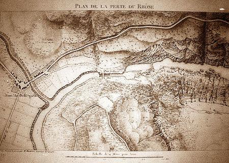 Carte de la perte du Rhône dessinée par l'ingénieur géographe M. Maurice dans la première moitié du XIXème siècle