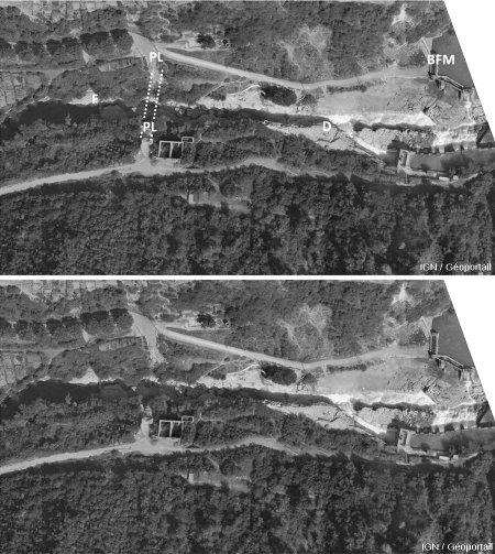 Photographie aérienne IGN annotée et brute prise le 13 septembre 1947, juste avant la mise en eau du barrage de Génissiat