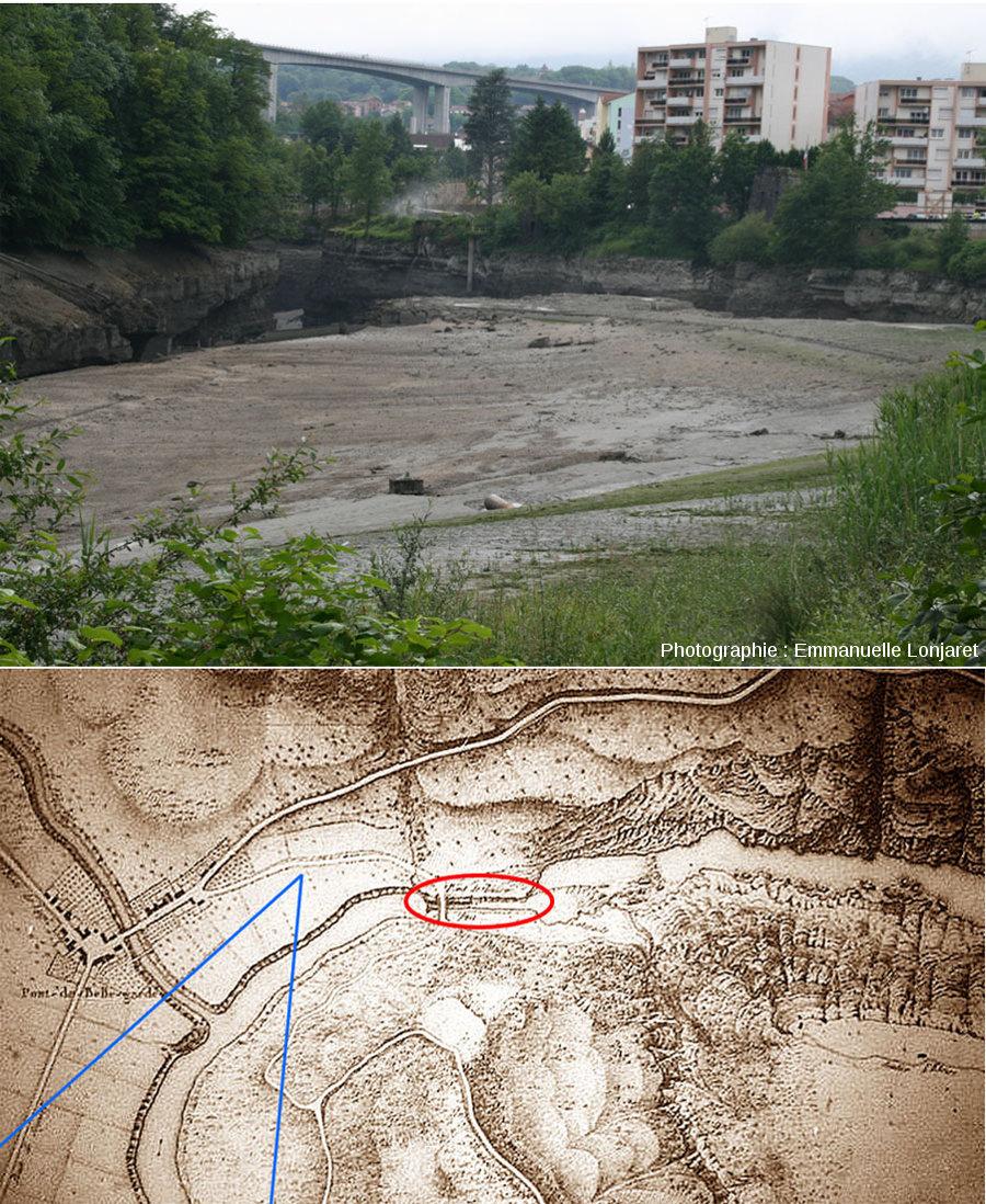 Le confluent du Rhône et de la Valserine (en haut) photographié pendant la vidange (partielle) du lac en juin 2012 et localisation sur carte ancienne