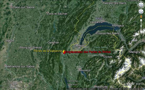 Localisation des pertes du Rhône et des pertes de la Valserine entre les Alpes et le Jura