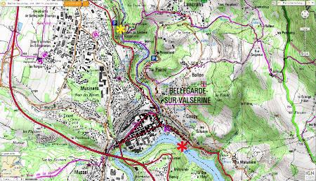 Extrait de la carte IGN des environs de Bellegarde sur Valserine (Ain)