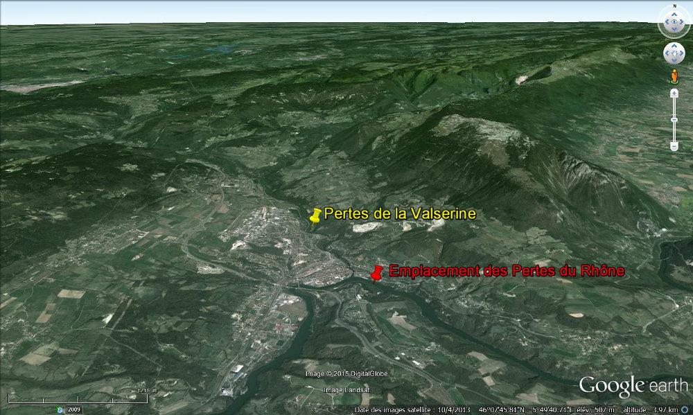 Contexte morphologique des pertes du Rhône et de la Valserine