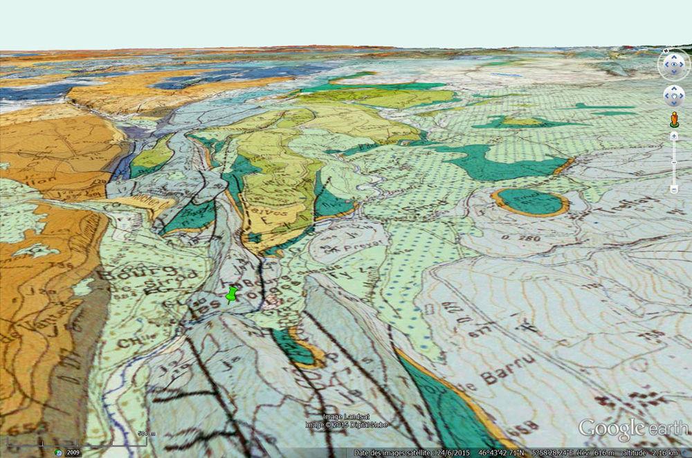 Carte géologique du secteur des pertes de l'Ain, communes de Bourg-de-Sirod et de Sirod (Jura)