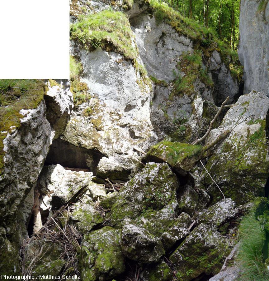 Zoom sur la partie amont des éboulis barrant la gorge des pertes de l'Ain, qui coule sous les blocs