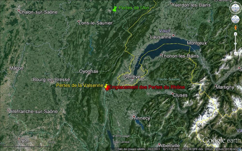 Localisation des pertes du Rhône (Ain, Haute-Savoie), de la Valserine (Ain) et de l'Ain (Jura)