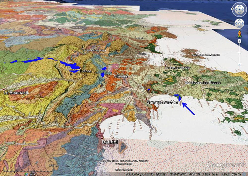Carte géologique avec les coulées de basalte de la région de Toulon (Var)
