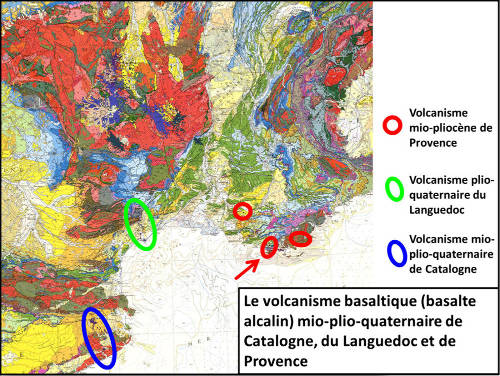 Extrait de la carte géologique de France au 1/1000000 montrant les affleurements de volcanisme basaltique du Néogène (Miocène + Pliocène) et du Quaternaire situés autour du Golfe du Lion