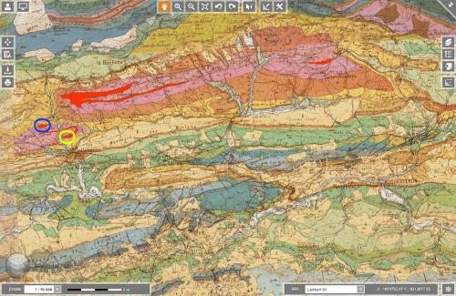Extrait de la carte géologique au 1/50000 de Roquestéron
