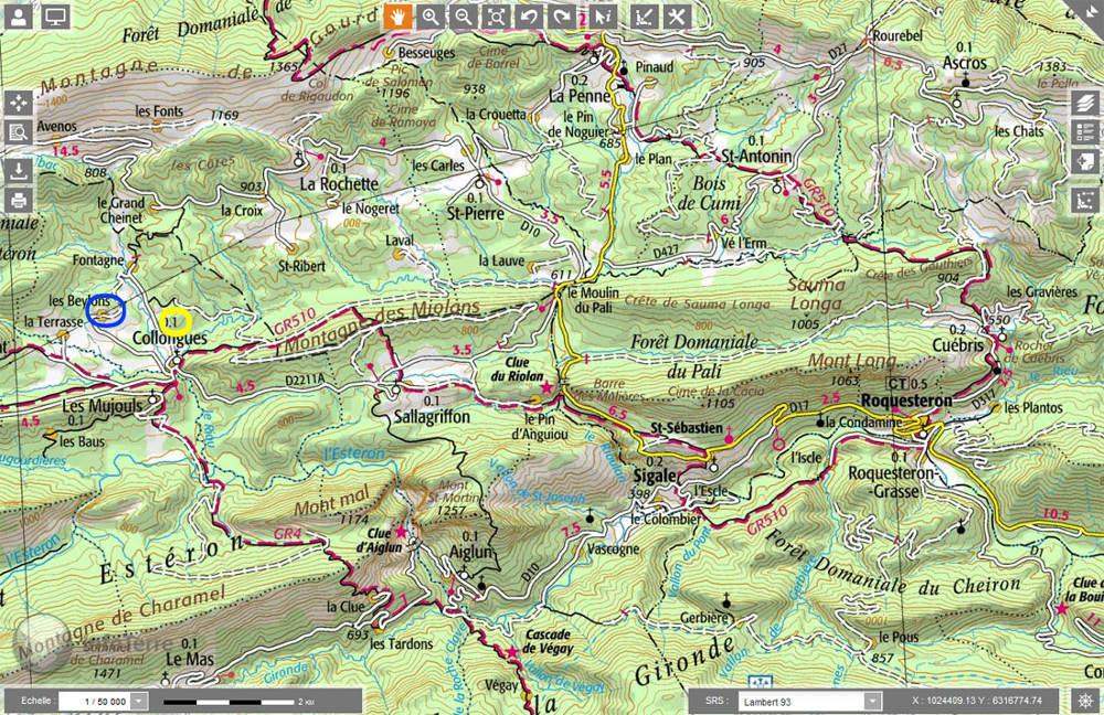 Localisation des deux secteurs photographiés, filon et brèches andésitiques