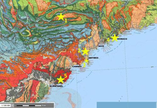 Extrait de la carte géologique de Nice au 1/250000 localisant les principaux affleurements (étoiles) de magmatisme calco-alcalin oligocène des Alpes Maritimes et du Var