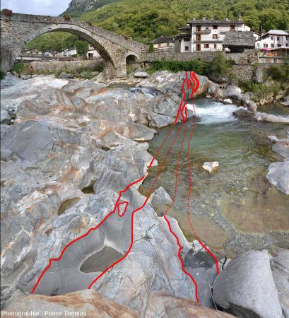 Réseau de filons d'andésite recoupant des gneiss éclogitiques de la zone Sésia, à Lillianes (Val d'Aoste, Italie), image interprétée