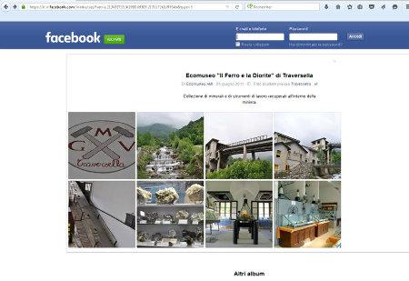 Copie d'écran de la page Facebook de l'écomusée du fer et de la diorite de Traversella (Piémont, Italie)