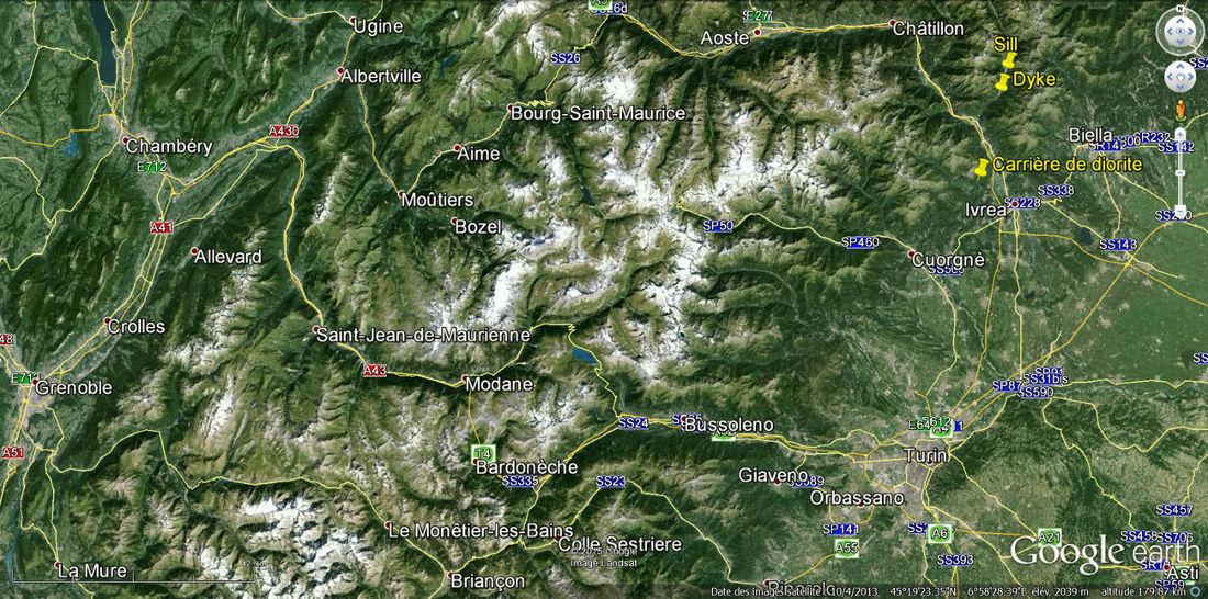 Localisation dans les Alpes franco-italiennes des filons de la vallée de la Lys (dyke et sill) et de la carrière de diorite du massif de Traversella