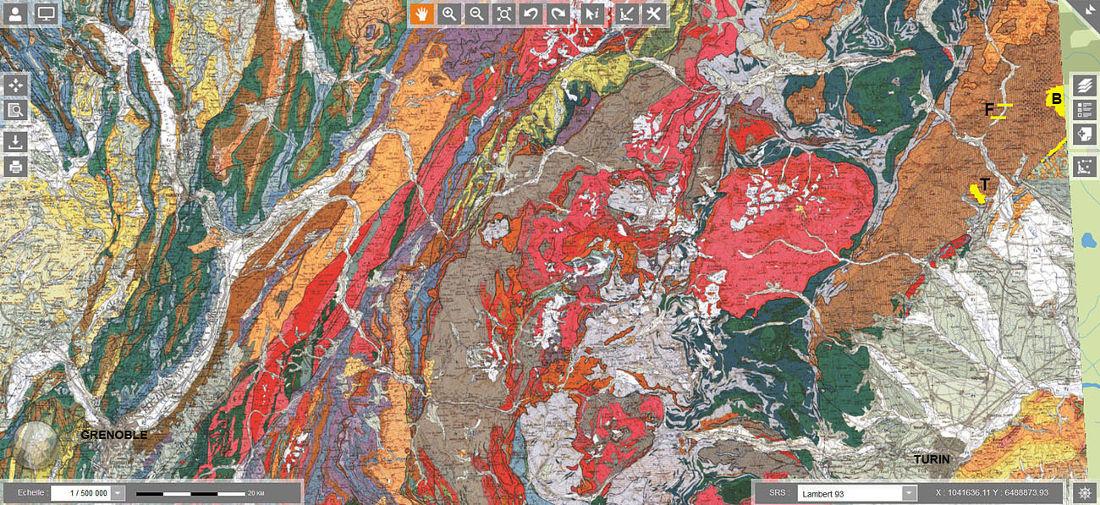 Extrait des cartes géologiques de Lyon et d'Annecy 1/250 000