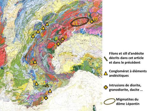 Extrait de la carte géologique de France au 1/1000000 montrant les emplacements des principaux affleurements de roches calco-alcalines oligocènes des Alpes occidentales