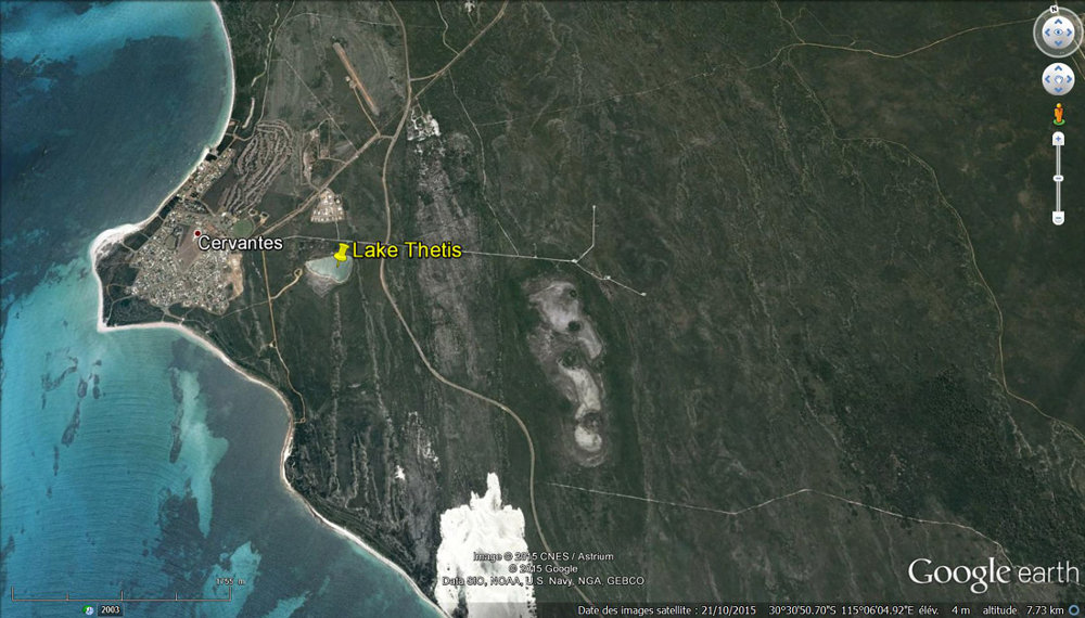 Localisation du lac Thetis près de Cervantes en Australie Occidentale