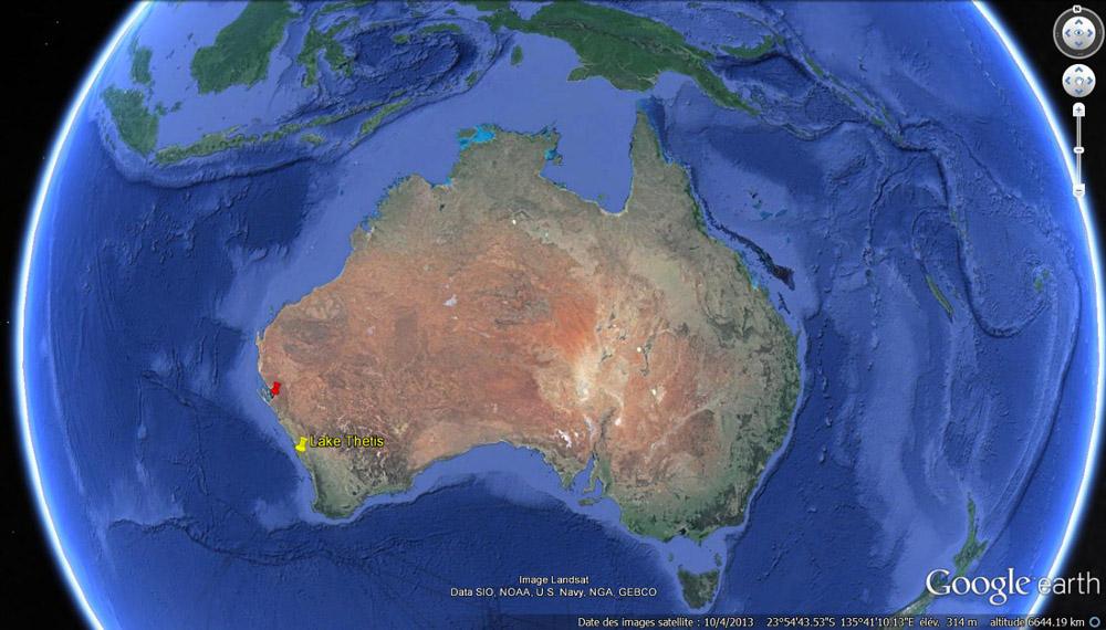 Localisation du lac Thetis dans l'Ouest australien (punaise jaune)