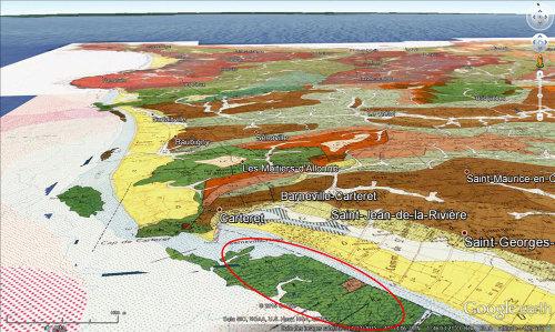 Carte géologique du secteur de Barneville-Carteret