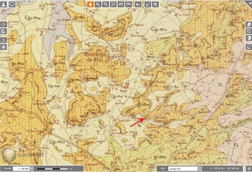 Extrait de la carte géologique de Saint-Pourçain-sur-Sioule montrant l'emplacement de la carrière de Gondailly (flèche rouge)