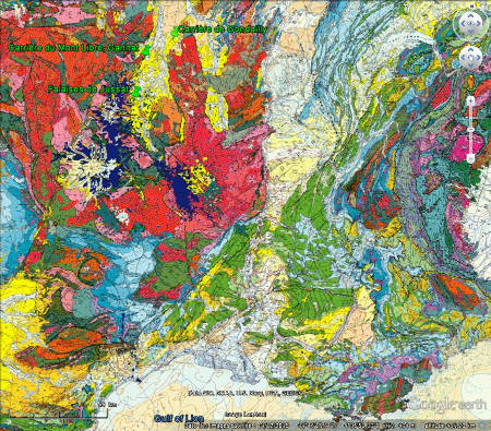 Localisation des trois gisements à stromatolithes décrits dans cet article sur fond de carte géologique de France au 1/1000000