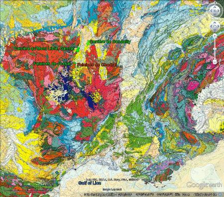 Localisation des falaises de Chadrat (en orange) et des trois autres sites à stromatolithes de la semaine dernière (en vert)