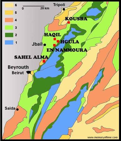 Carte géologique simplifiée du Liban montrant la position des principaux gisements de poissons fossiles (carré rouge), tous situé dans le Cénomanien (100Ma, Crétacé supérieur)