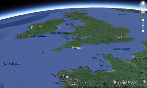 Localisation des falaises de Moher, en Irlande