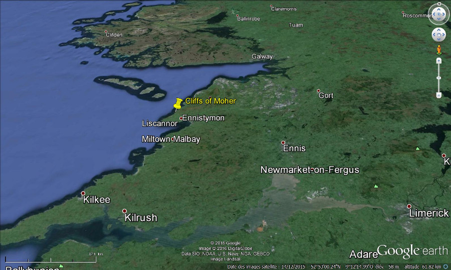 Localisation des falaises de Moher (Irlande), au Sud-Ouest de Galway