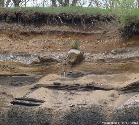 Détail des deux figures précédentes où l'on voit que le niveau pyroclastique trachytique peut contenir d'énormes blocs, Puy de Lemptégy