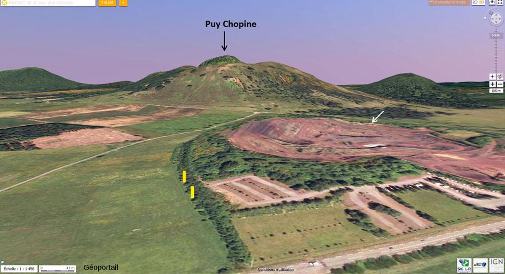 Vue 3d de la carrière du Puy de Lemptégy (à droite) et du Puy Chopine (à l'arrière-plan, au centre)