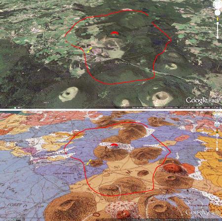 Vue 3D sans et avec carte géologique du secteur du Puy Chopine et de son recouvrement pyroclastique
