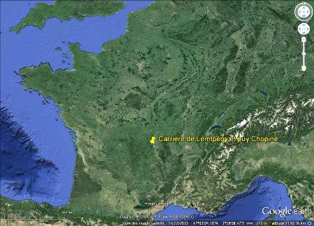 """Localisation de la carrière du Puy de Lemptégy et de son """"recouvrement Chopine"""""""