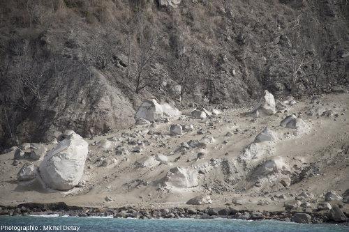 Zoom sur le côté gauche de la coulée pyroclastique de la figure précédente, issue du volcan Paluweh (Indonésie)
