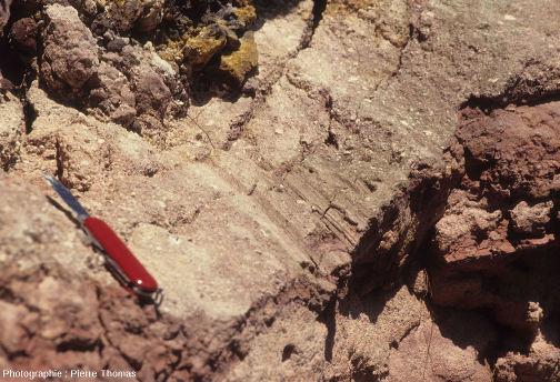 Zoom sur les stries engendrées par la progression de la coulée et de sa base scoriacée sur les sédiments argilo-sableux oligocènes en train de se faire métamorphiser