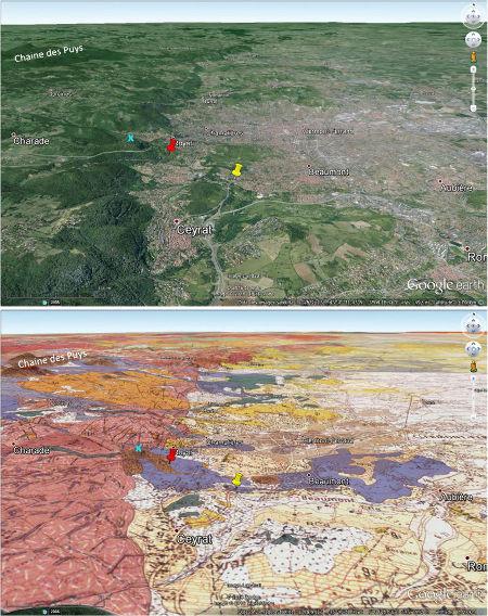 Vue aérienne et vue avec carte géologique de la banlieue Sud-Ouest de Clermont-Ferrand