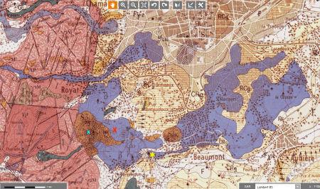 Extrait de la carte géologique BRGM de Clermont-Ferrand au 1/50000