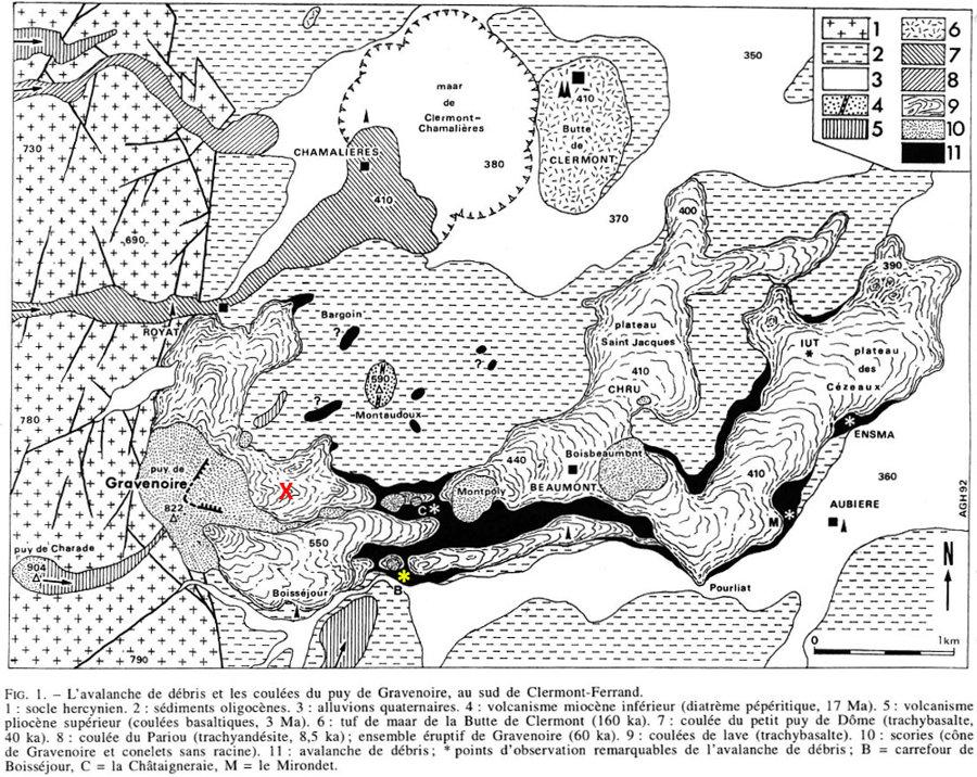 Carte géologique thématique centrée sur le Puy de Gravenoire et ses coulées