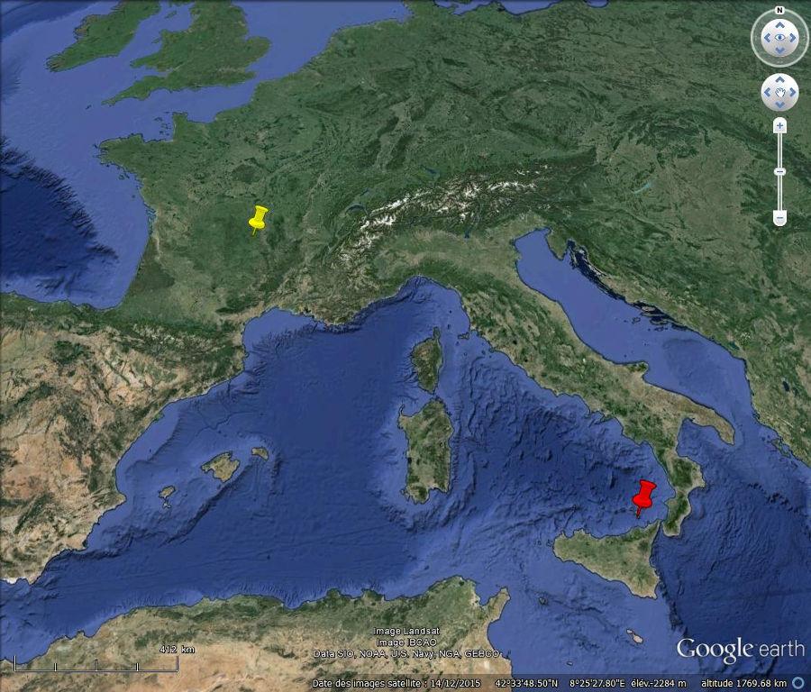 Localisation du Vulcano (Italie) et du Puy de Sancy (France)
