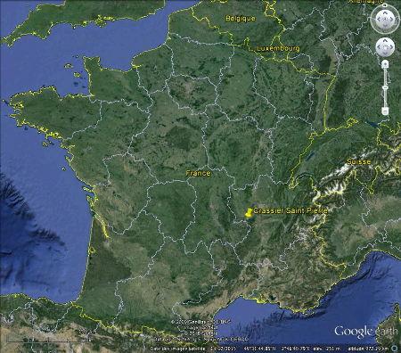 Localisation, en France, du Crassier Saint-Pierre de La Ricamarie (Loire)